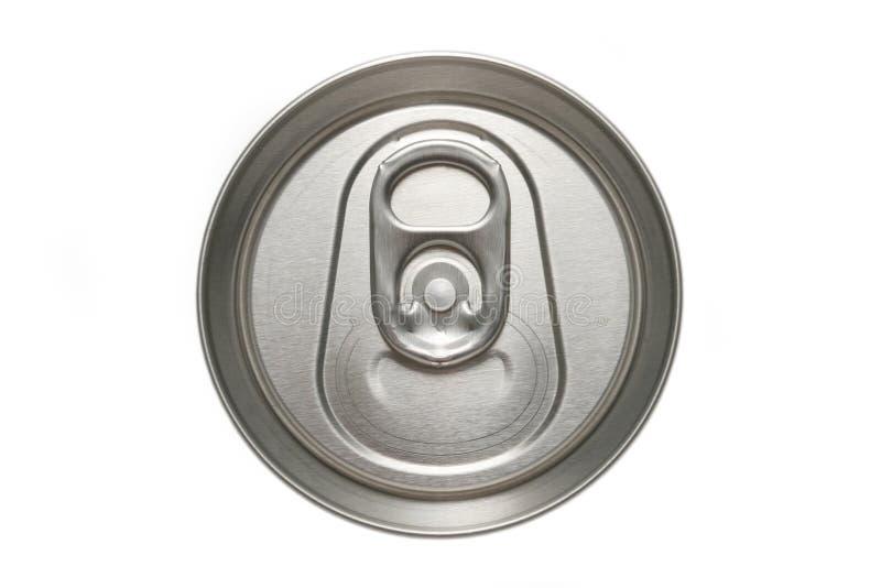 Macro da parte superior da lata de alumínio imagens de stock