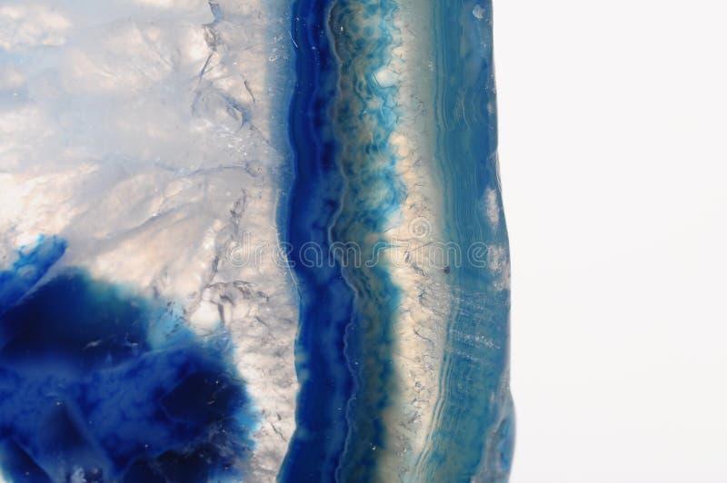 Macro da pedra azul da ágata fotografia de stock