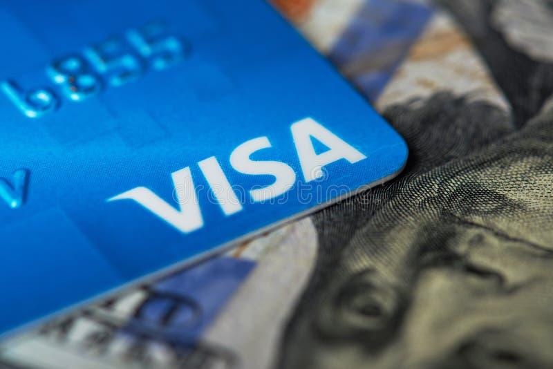 Macro de carte de logo de visa photos stock