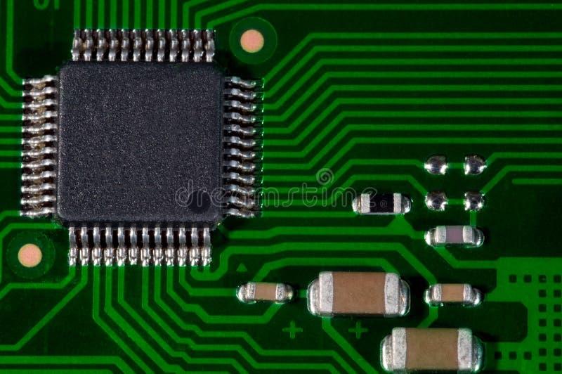 Macro de carte PCB électronique de carte en vert image stock