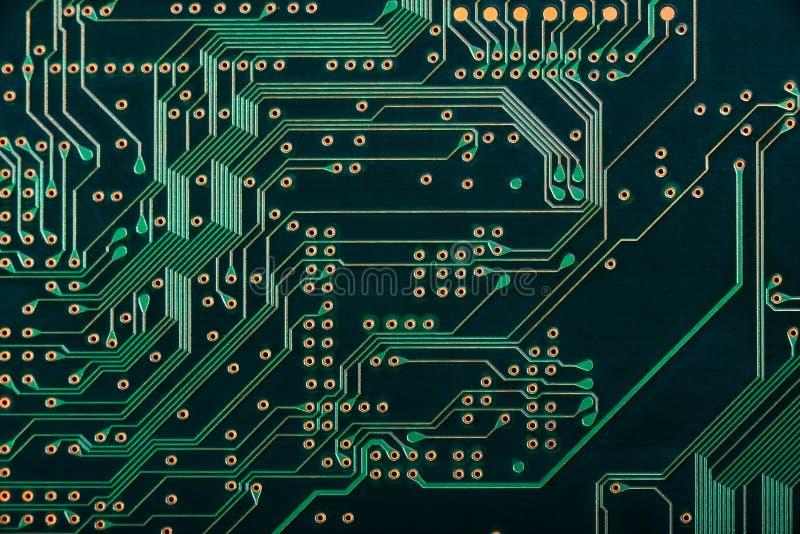 Macro de carte PCB électronique de carte en vert photo stock