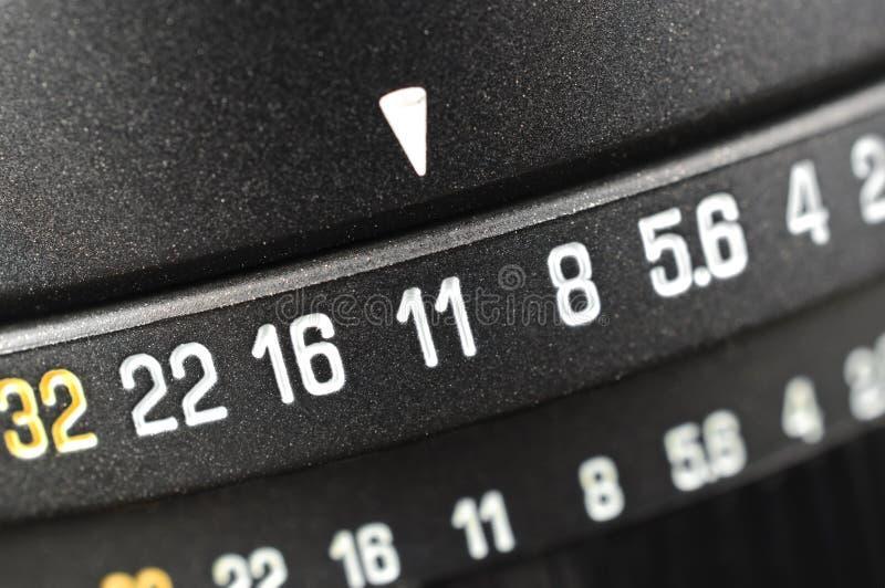 Macro de la escala de la abertura foto de archivo