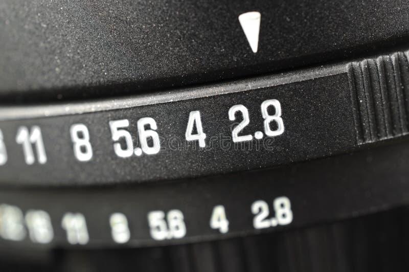 Macro de la escala de la abertura fotografía de archivo