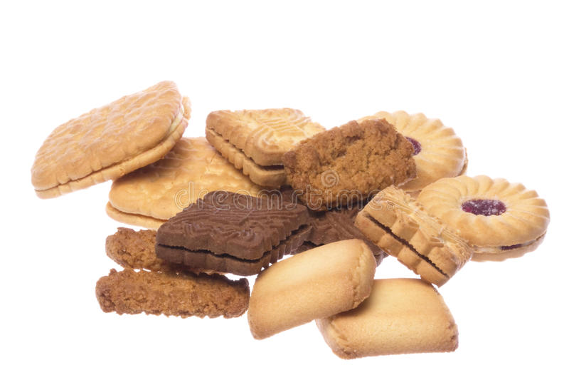 Macro de las galletas aislada imagenes de archivo