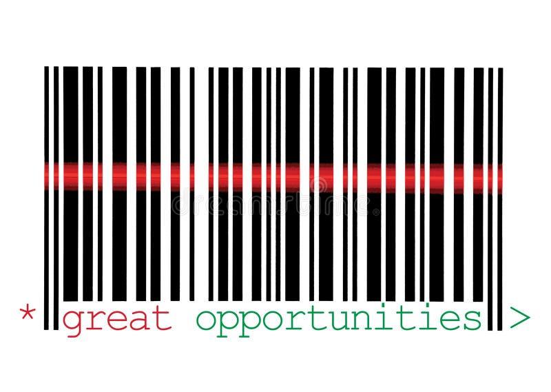 Macro de varredura do código de barras das grandes oportunidades fotografia de stock