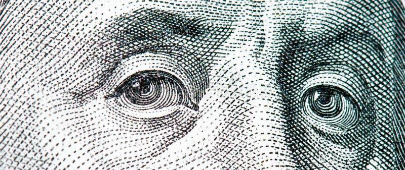 Macro Del Benjamin Franklin Dalla Fattura Del Dollaro $100 Fotografia Stock Libera da Diritti