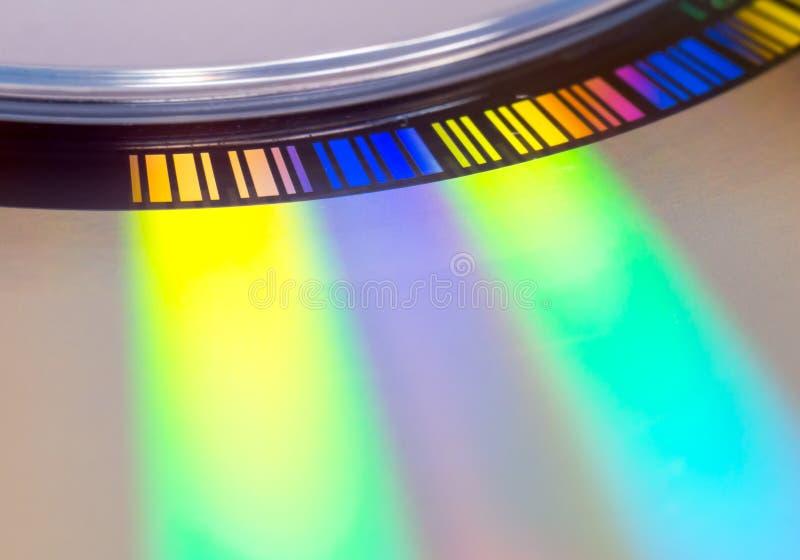 Macro del disco compacto, detalle del c?digo de barras foto de archivo