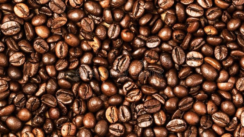 Macro del fondo de los granos de café Textura asada oscura de los granos de café imágenes de archivo libres de regalías