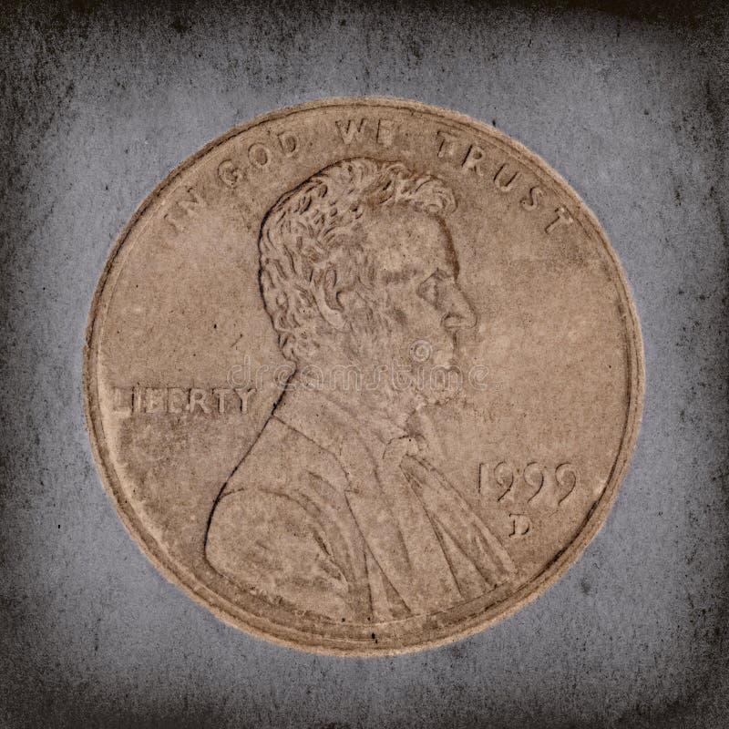 Macro del penny di Grunge immagini stock libere da diritti