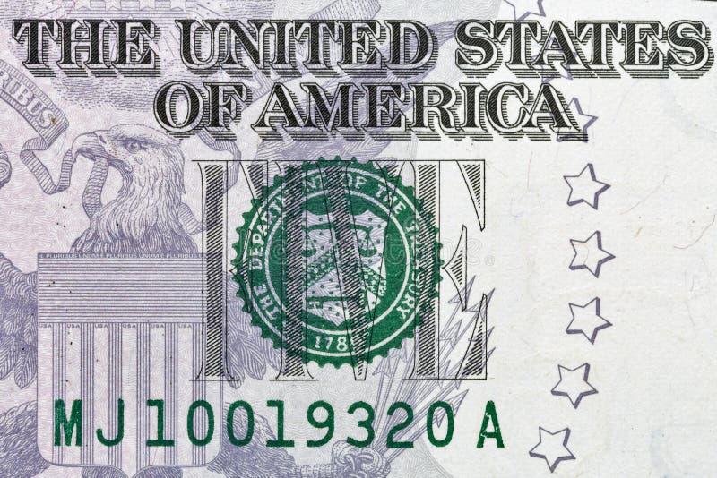 Macro del primer del billete de dólar de los E.E.U.U. cinco fotos de archivo
