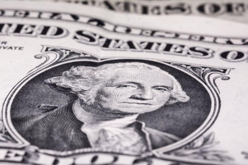 Macro del primer del billete de dólar de los E.E.U.U. uno George Washington Dinero de Estados Unidos fotos de archivo