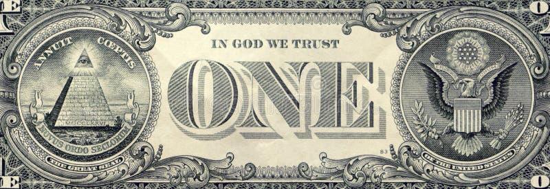 Macro del primo piano della banconota in dollari degli Stati Uniti uno, lato posteriore fotografie stock libere da diritti