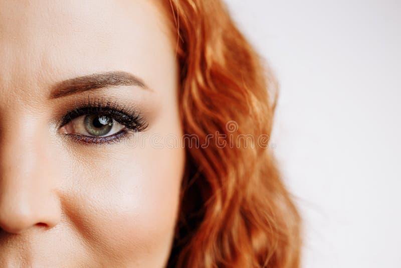 Macro del primo piano di bello occhio femminile immagine stock