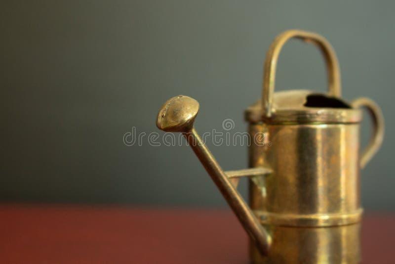 Macro dell'annaffiatoio miniatura d'annata dorato davanti a fondo nero fotografie stock libere da diritti