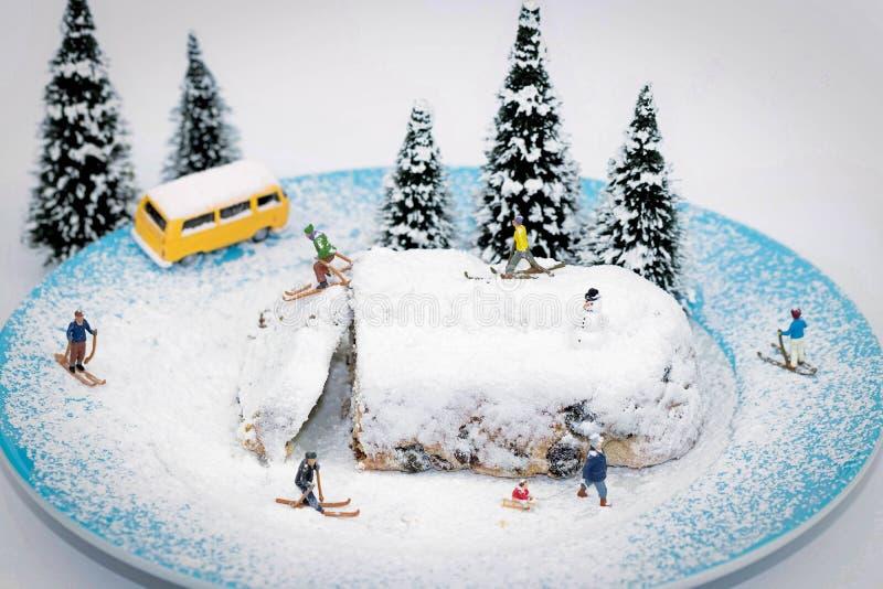 Macro dell'sciatori miniatura fotografia stock