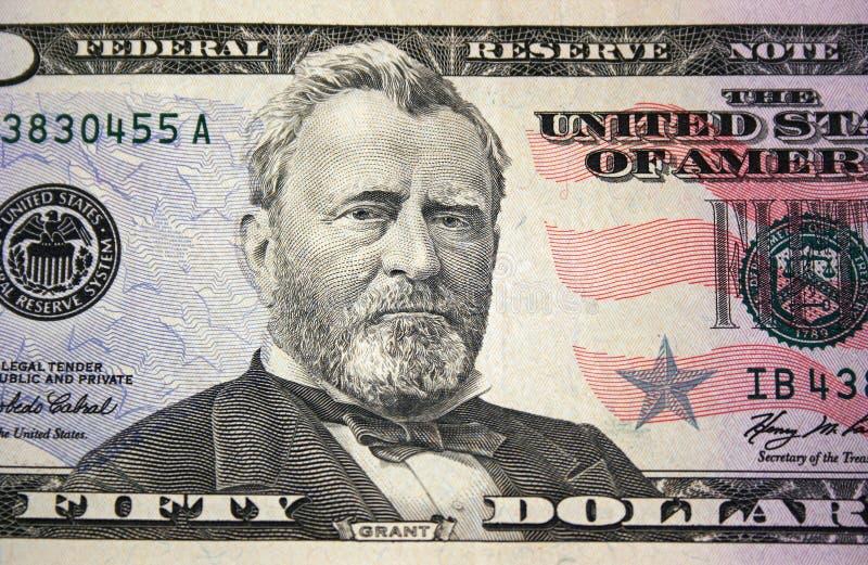 Macro della fattura del dollaro degli Stati Uniti cinquanta fotografie stock libere da diritti