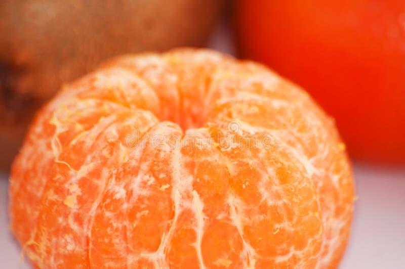 Macro descascado suculento delicioso do close-up do mandarino fotos de stock