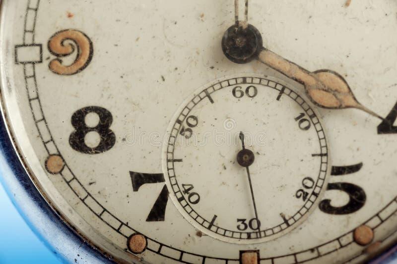 Oud geschaafd zakhorloge macrodetail stock foto's