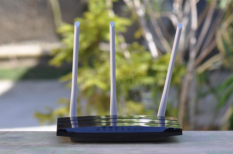Router. Macro detail of wireless router with antenna stock photos