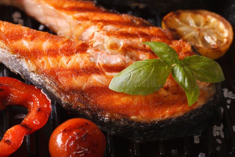 Macro di color salmone e verdure del trancio di pesce rosso arrostito fotografie stock libere da diritti