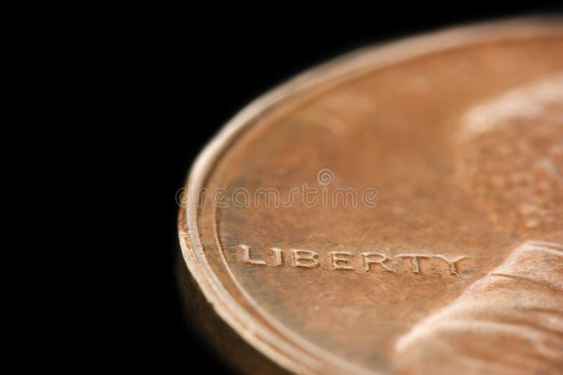 Macro di libertà su un penny immagine stock