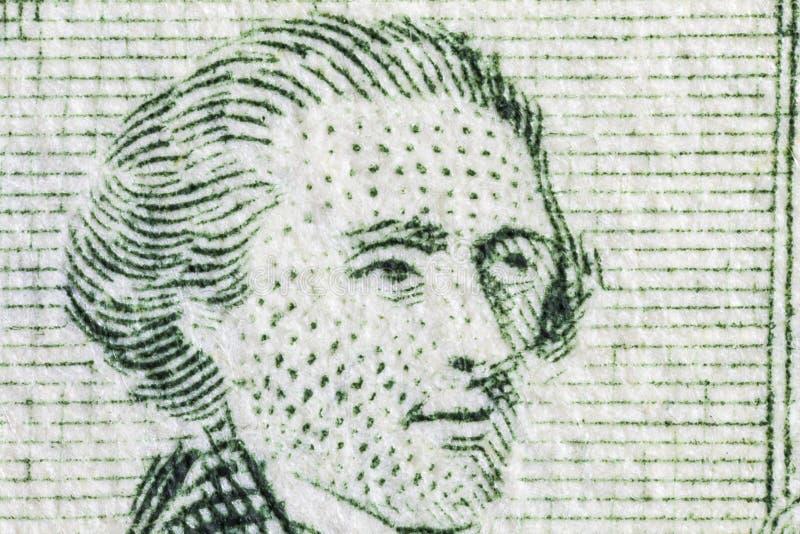 Macro di Thomas Jefferson sul conto dei due dollari USA fotografie stock libere da diritti