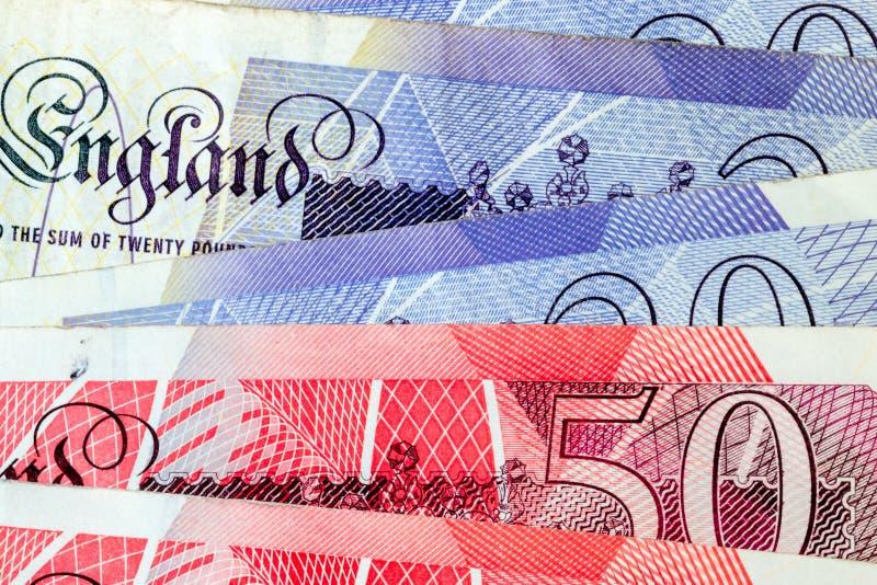 Macro Dichte Omhooggaand van Britse Pondnota's royalty-vrije stock afbeeldingen