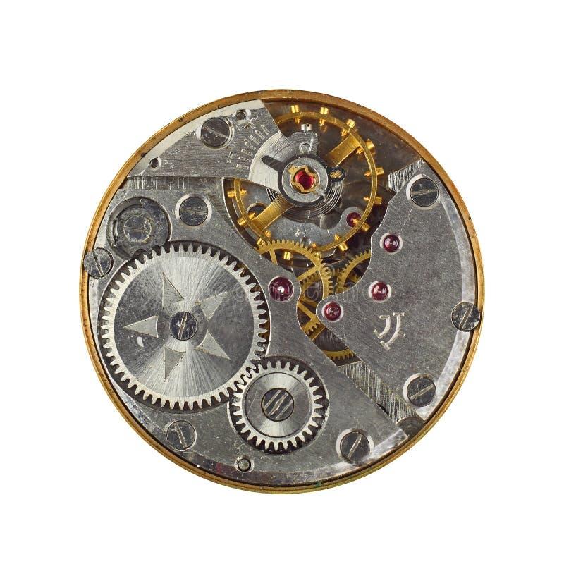 Macro do maquinismo de relojoaria isolado foto de stock