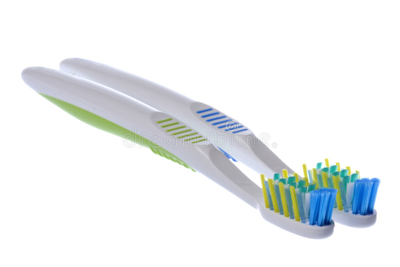 Macro dos Toothbrushes isolado imagem de stock royalty free