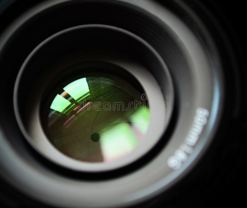 Macro of DSLR lens stock photography