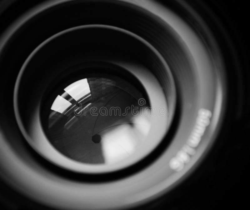 Macro of DSLR lens in b/w royalty free stock image