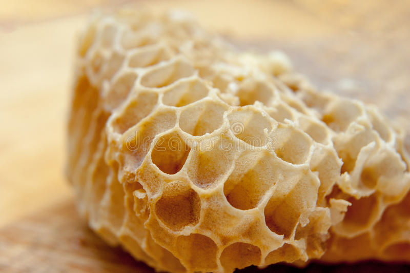 Macro of empty honeycomb on the table stock photos
