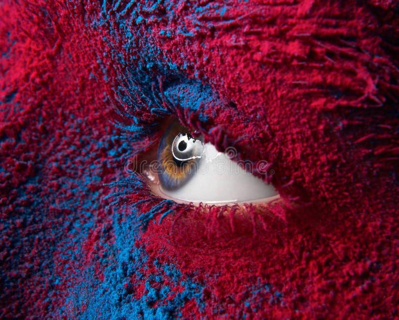 Macro en close-up als thema heeft de creatieve samenstelling: Mooi vrouwelijk oog met het droge pigment van het verfstof op gezic royalty-vrije stock afbeelding