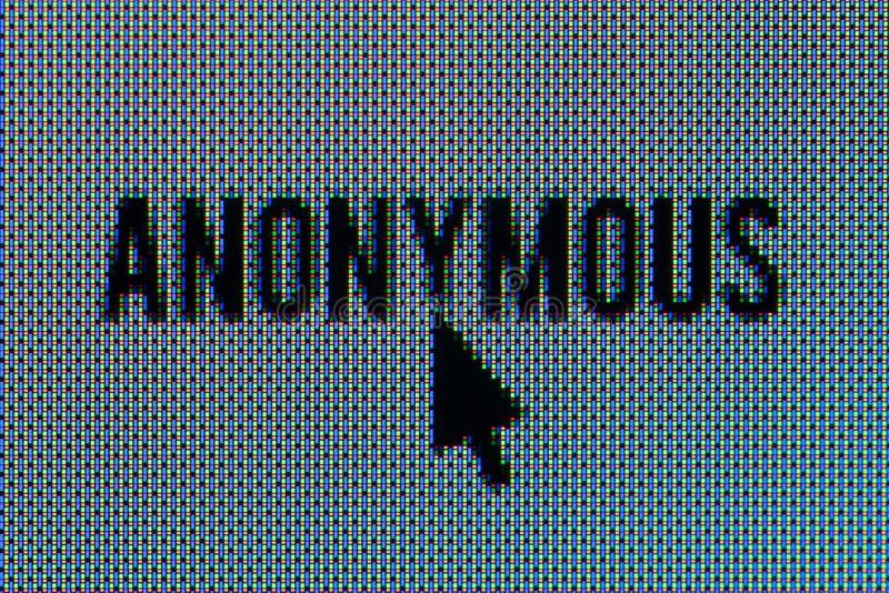 Macro estupenda del texto anónimo en pantalla de OLED con el ratón foto de archivo libre de regalías