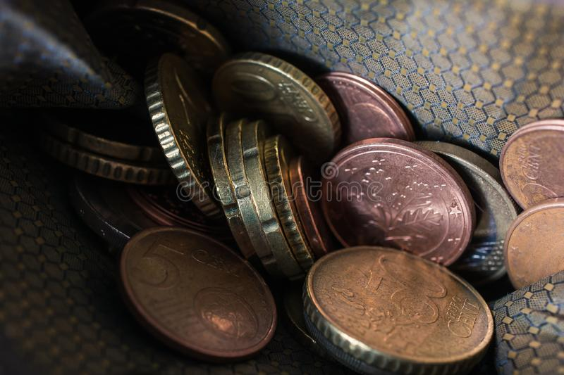 Macro Of Euro Coins In A Wallet. A Macro Of Euro Coins In A Wallet stock images