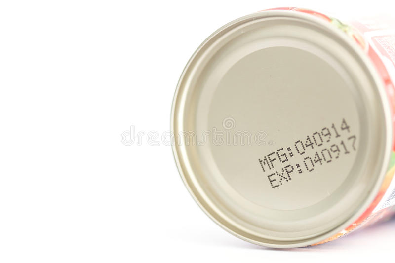 Macro expiration date on canned food stock photos