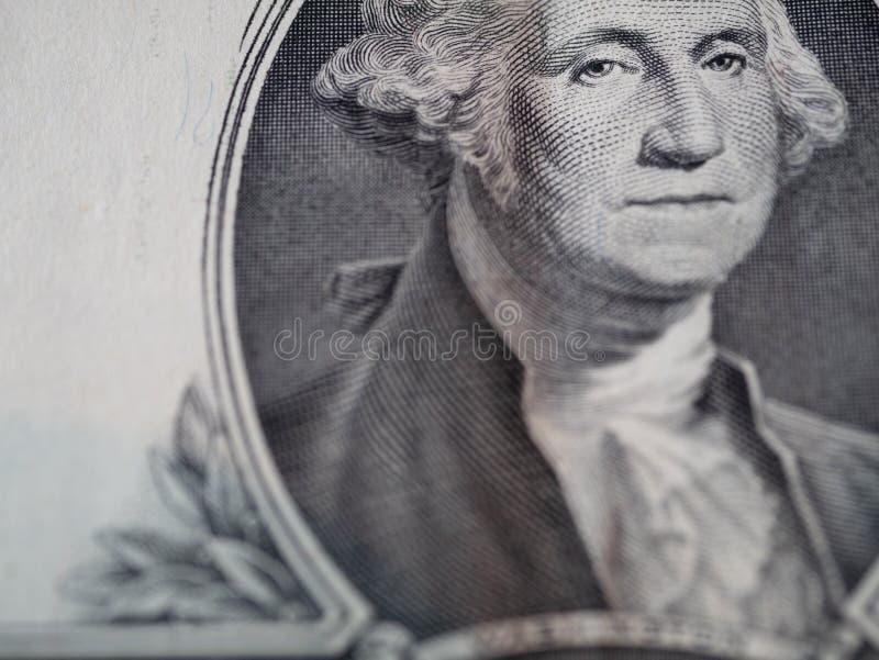 Macro extrême d'un mâle de billet de banque du dollar photographie stock libre de droits
