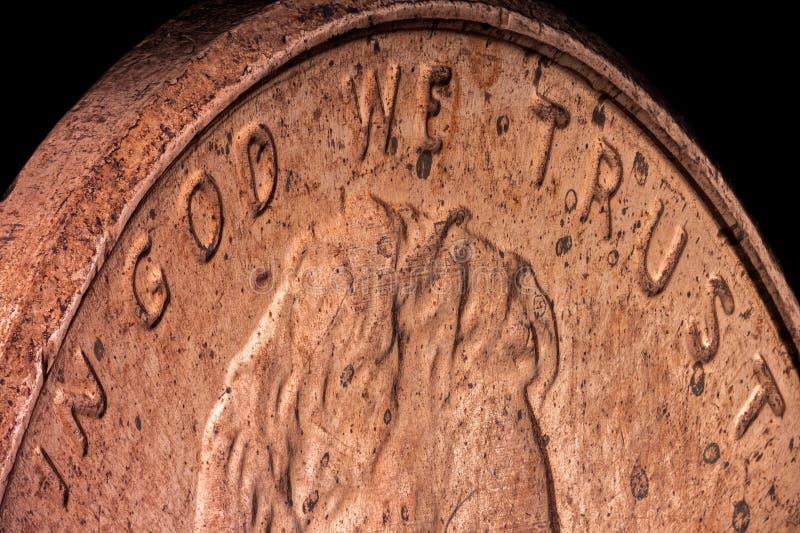 Macro extrême d'un penny d'en cuivre américain photographie stock libre de droits