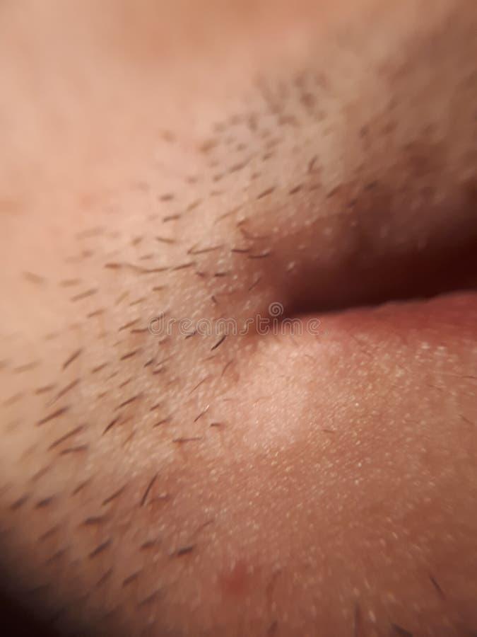 Macro fermez la peau jaune flou au-dessus du coin de la bouche avec les cheveux courts du visage image stock