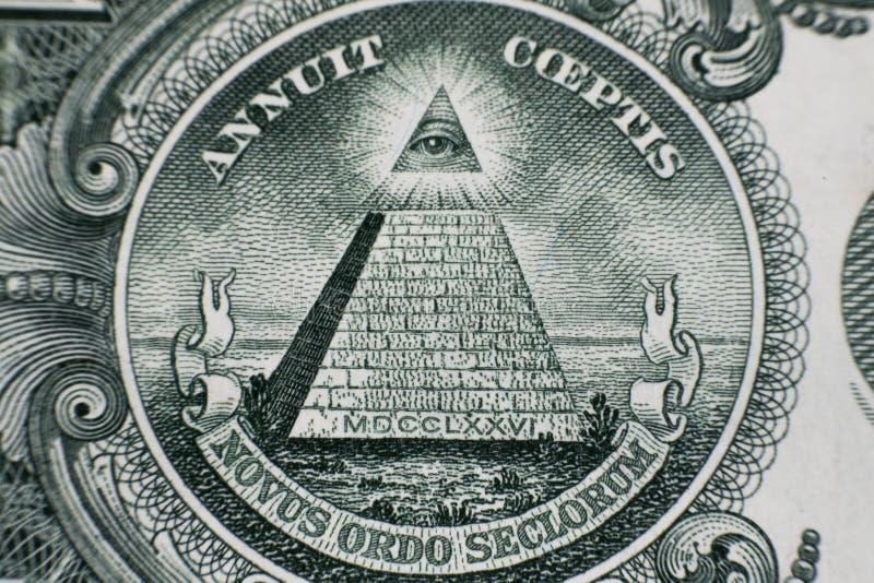 Macro fin des USA billet d'un dollar 1 photo stock