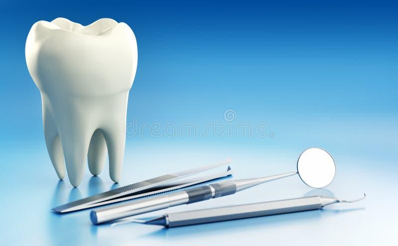 Macro fin vers le haut de l'illustration 3D de la dent humaine conceptuelle avec l'équipement dentaire photo libre de droits