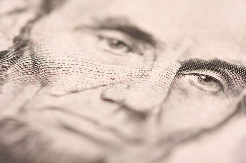 Macro of Five Dollar Bill's Lincoln stock photo