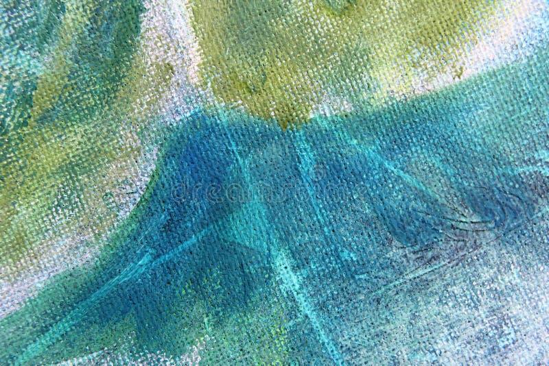 Macro fondo astratto dell'acquerello di giallo e di verde blu immagini stock libere da diritti