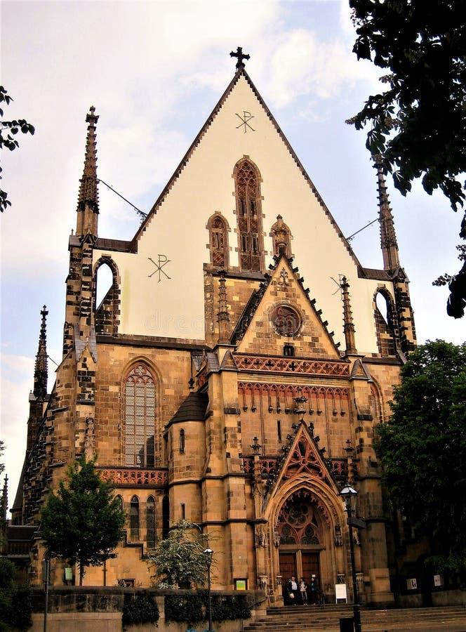 Macro foto di una st religiosa architettonica Thomas Church delle costruzioni in Lipsia in Germania fotografie stock