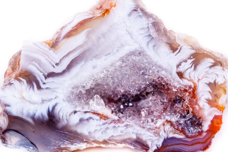 Macro germoglio di pietra minerale dell'agata su fondo bianco fotografia stock libera da diritti