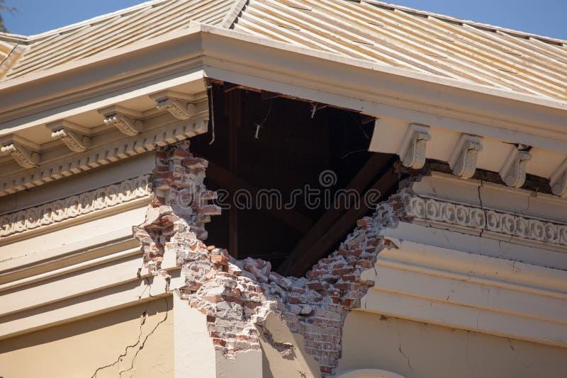 Macro giustizia Building di danno di terremoto immagine stock