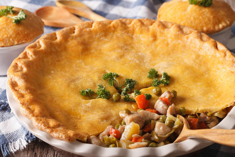 Macro grande da torta de potenciômetro da galinha no prato do cozimento horizontal fotografia de stock royalty free