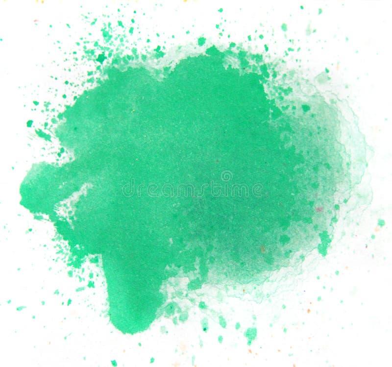 Macro Groene waterverfplons, op witte achtergrond royalty-vrije illustratie