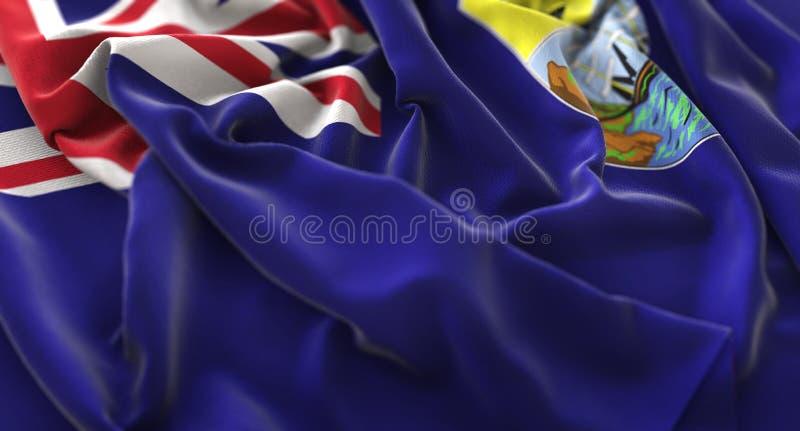 Macro het Close-upschot van heilige Helena Flag Ruffled Beautifully Waving royalty-vrije stock fotografie
