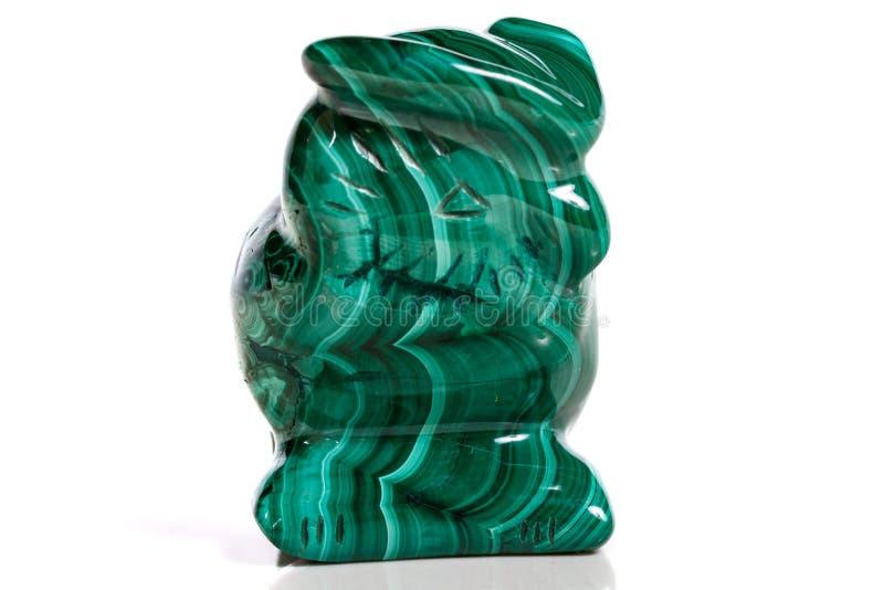 Macro hibou en pierre minéral de malachite photo stock